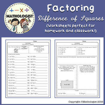 Factoring Algebra Difference of Squares Worksheets