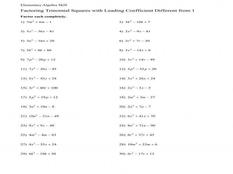 Factoring Perfect Squares Worksheet Worksheets