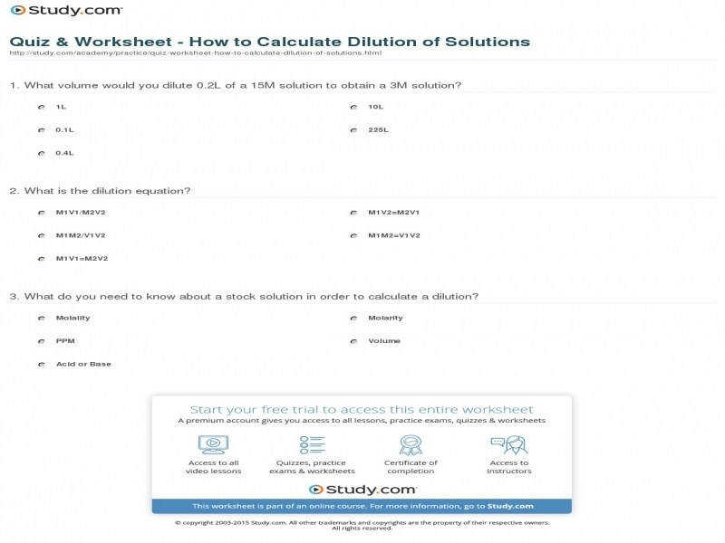 Quiz & Worksheet How To Calculate Dilution Solutions