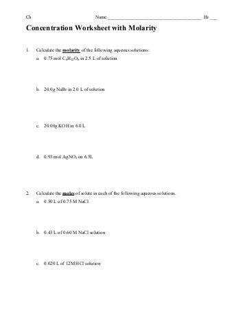 molarity and dilution worksheets Molarity Problems Worksheet M