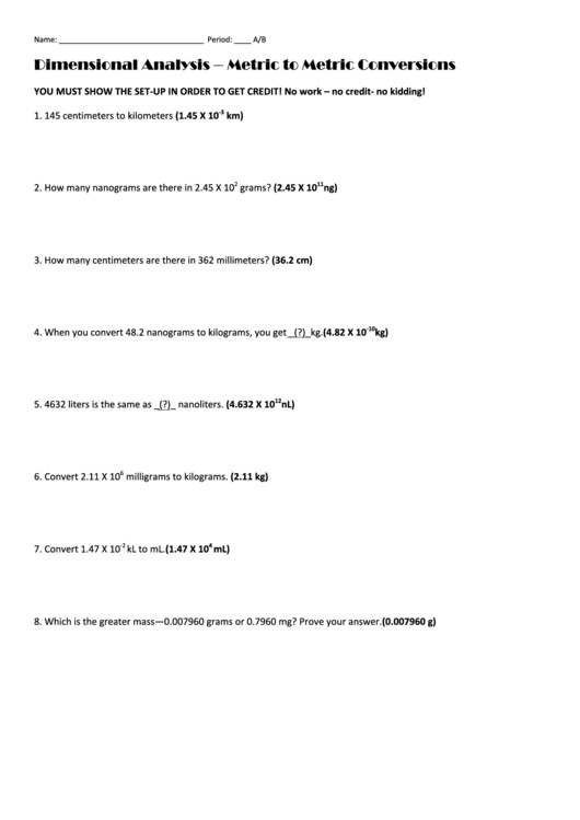 Dimensional Analysis Problems Worksheet Dimensional Analysis Metric To Metric Conversions Printable Pdf