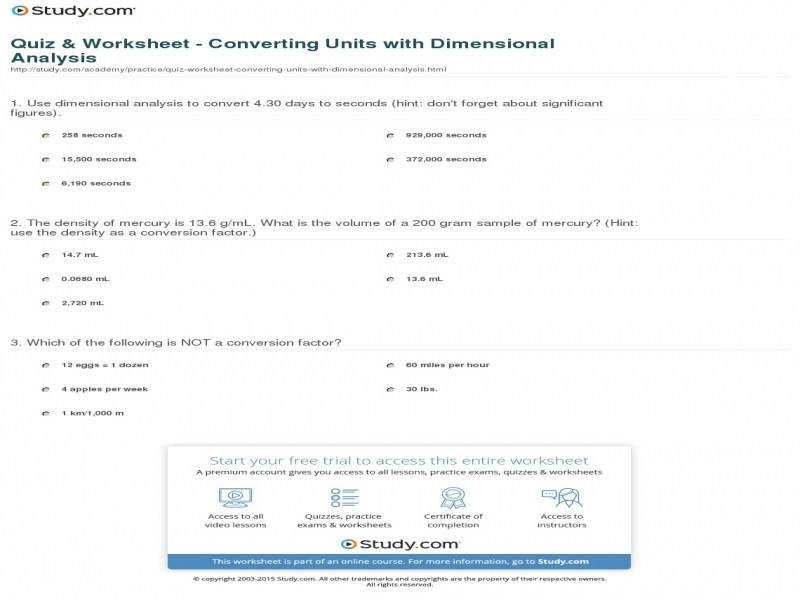 Quiz & Worksheet Converting Units With Dimensional Analysis Chemistry