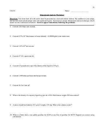 Dimensional Analysis Worksheet 151