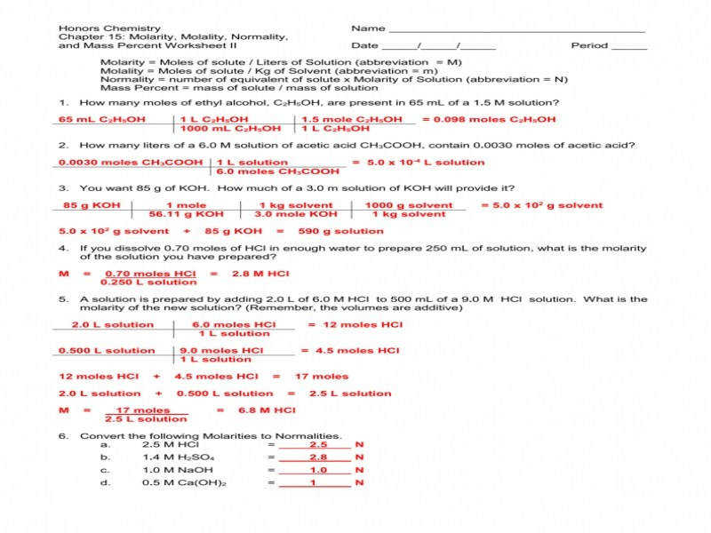 Chemistry Unit 1 Worksheet 6 Dimensional Analysis Answers