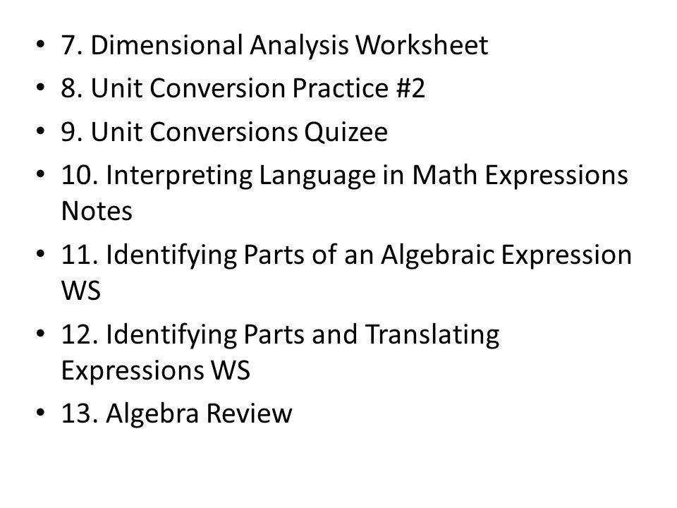 Dimensional Analysis Worksheet