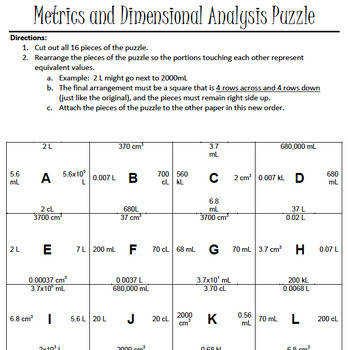 Metrics and Dimensional Analysis Puzzle