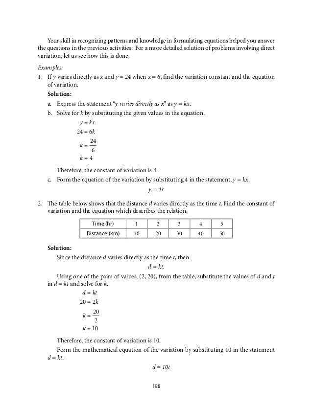 Grade 9 Mathematics Unit 3 Variation