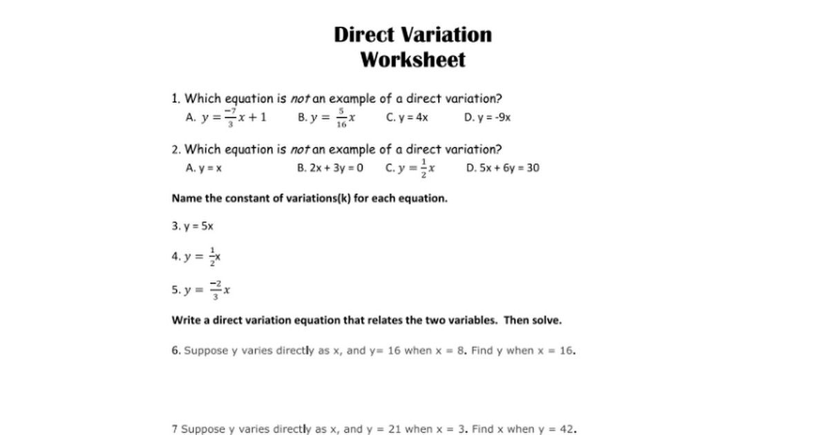 Direct and Inverse Variation Worksheet | Homeschooldressage.com