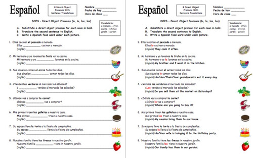 Worksheets Spanish Direct Object Pronouns Worksheet spanish direct object pronouns sentences and food worksheet by suesummersshop