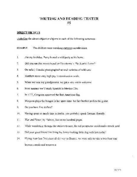 Collection of Solutions Direct And Indirect Objects Worksheets 5th Grade In Download Proposal