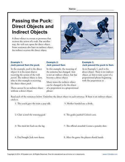 passing the puck direct objects and indirect objects