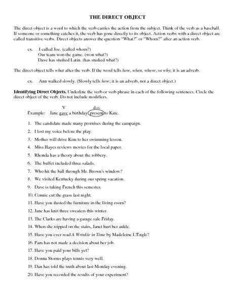 Printables Of Worksheet Library Indirect Objects Geotwitter Kids