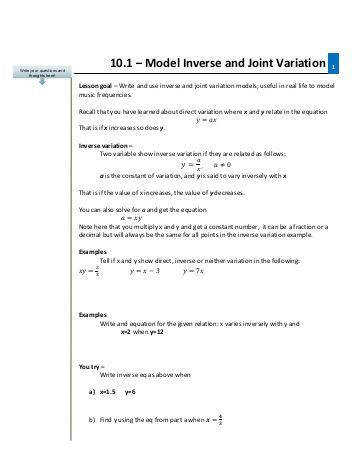 Joint Variation Worksheet