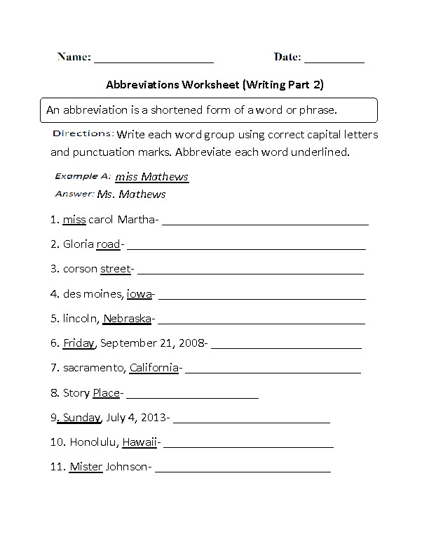 Worksheet Part 2