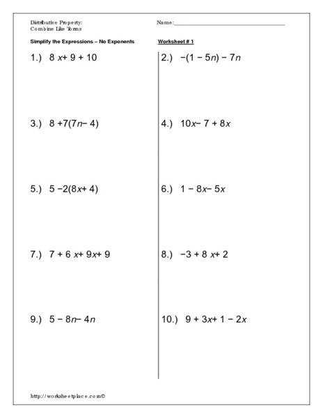 Distributive Property and bining Like Terms Puzzle from Under