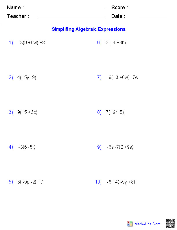 The Distributive Property Worksheets