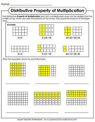 Properties of Multiplication Printable Worksheets