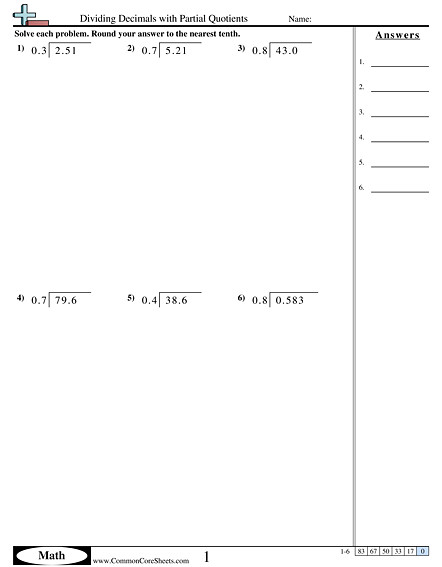 Dividing Decimals with Partial Quotients worksheet