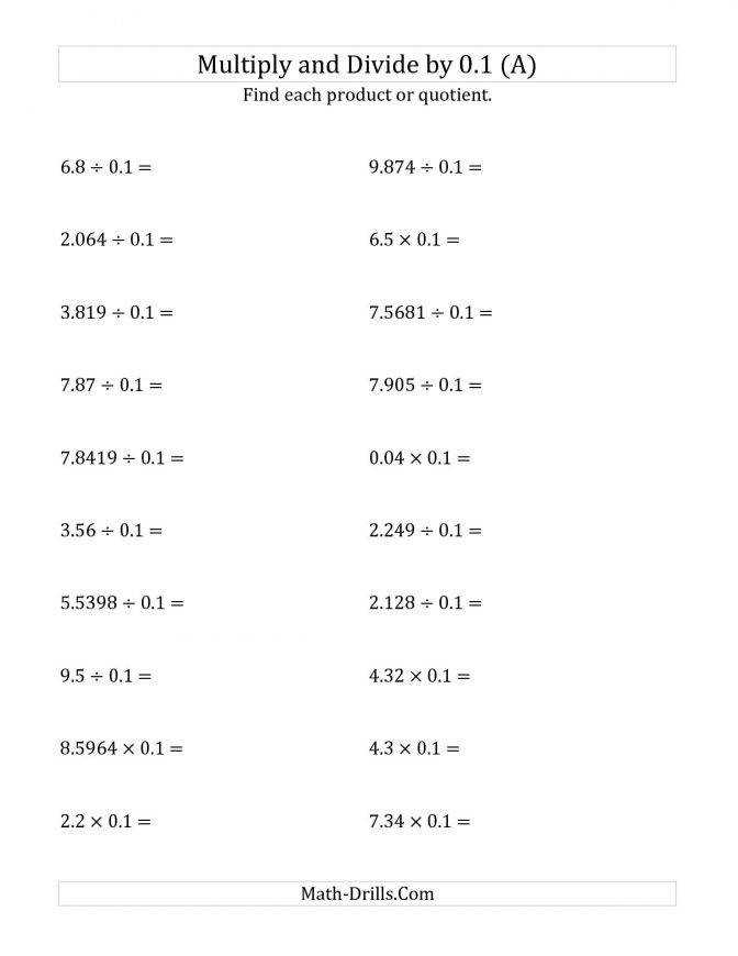 Multiplying And Dividing Decimals By 0 1 A With Worksheets Powersoften Mixed Decimal N01 Standard 00