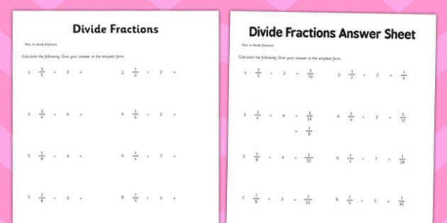 Year 6 Divide Fractions Activity Sheet maths ks2 upper key stage 2