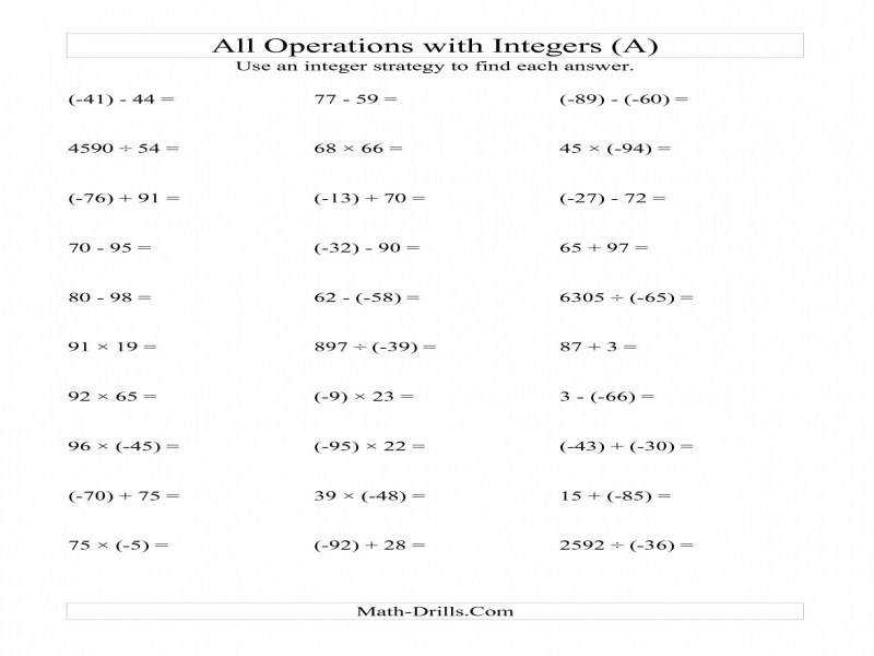 All Operations With Integers Range 99 To 99 With Negative