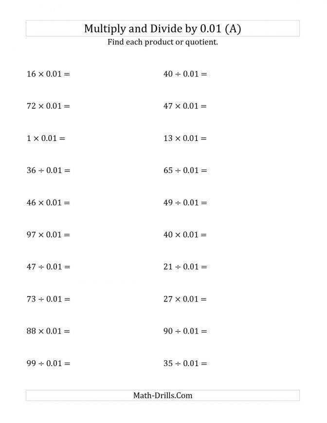 Multiplying And Dividing Whole Numbers By 0 01 A Adding Subtracting Fractions Worksheet 7th Grade Powersoften