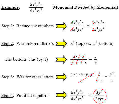 monomial divided by monomial
