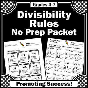 Divisibility Rules 4th Grade Division Worksheets 5th Grade Math Review Sheets