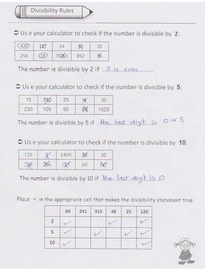 Divisibility Rules Exe · 6 Divisibility Rules Challenge Worksheet