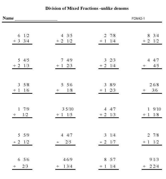 Printable fractions division work sheet math skills student practice sheet