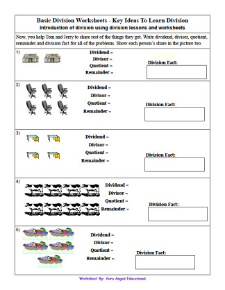 Print the basic division worksheet by clicking on the image For more dividing worksheets visit