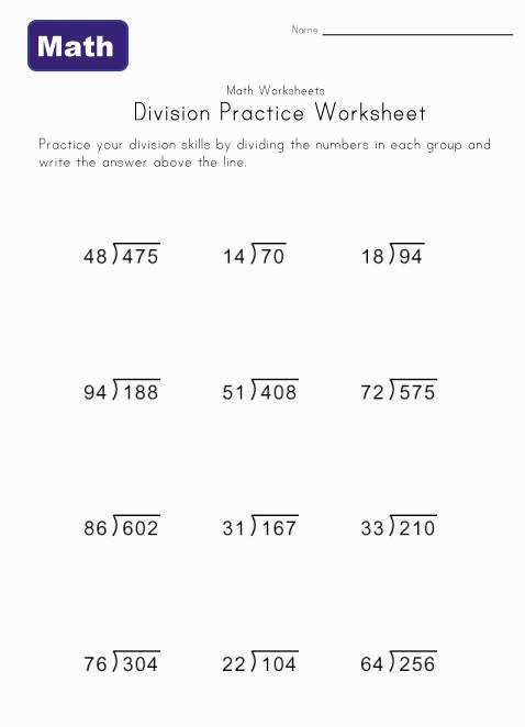 printable division practice