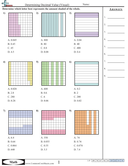 Determining Decimal Value Visual worksheet