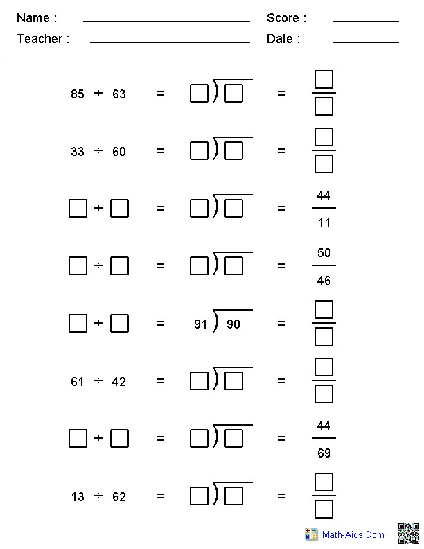 Different Formats Division Worksheets