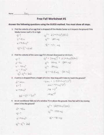 Free Fall Worksheet 1 Key Solon City Schools