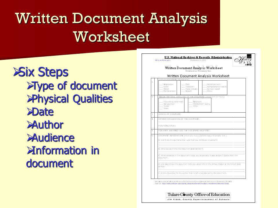 how to write a document analysis for history