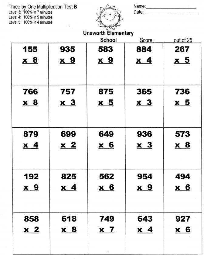 4 Digit By 1 Multiplication Worksheets Dirty Weekend Hd Single Grade 3 3f Three e Mult