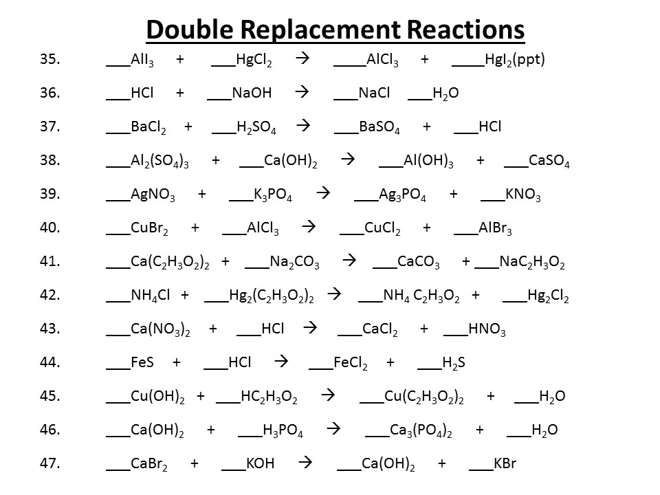 Double replacement reactions worksheet 4