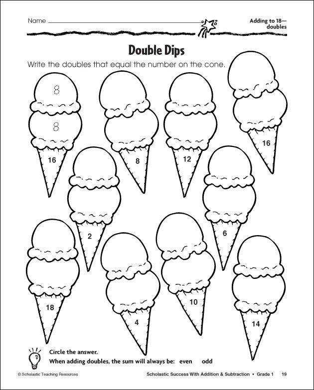 near doubles colouring pages