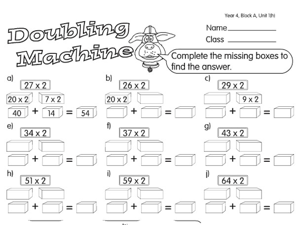 Preview of Split and Double Machine A year 4 doubling & halving worksheet