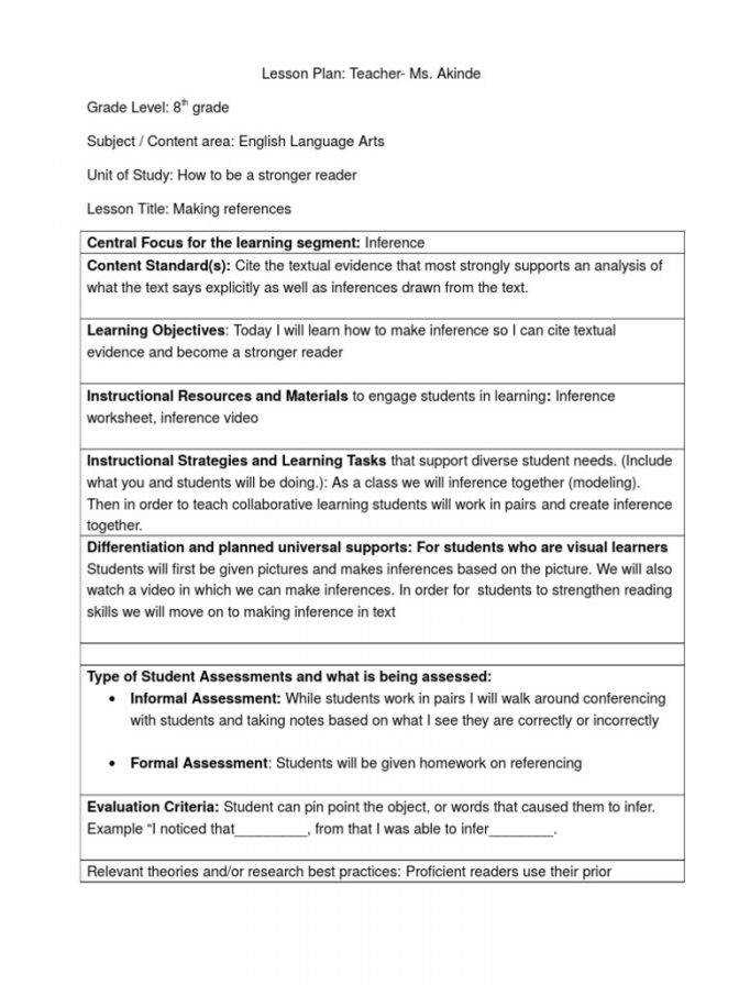 cp plri 3 educational assessment inference lesson plan 5th grade lesson plan inference lesson plan