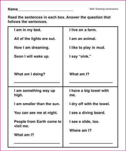 Drawing Conclusions Worksheets 2nd Grade