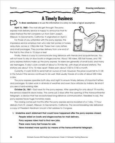 Stage A Timely Business Reading And Drawing Conclusions Printables