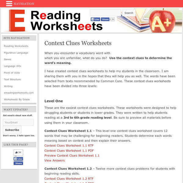 Ereading Worksheets Context Clues
