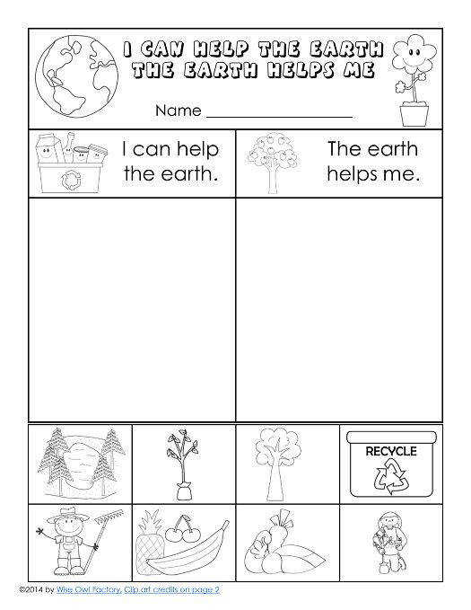 Free Earth Day Printable for K 1