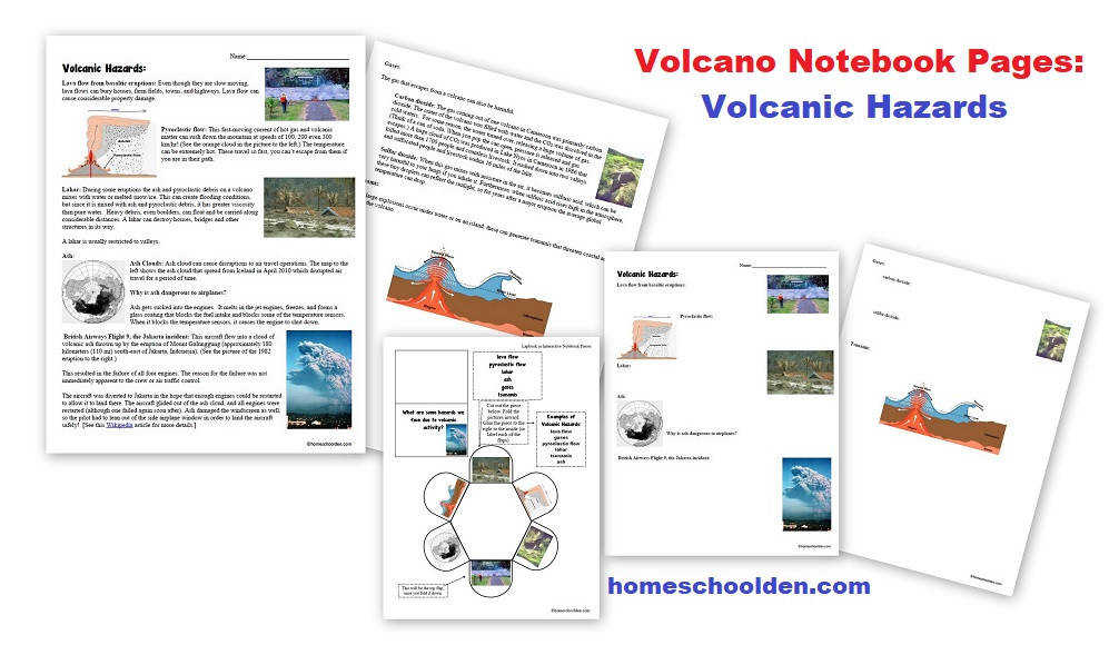 Volcano Worksheets and Notebook Pages Volcano Worksheets Notebook Pages Volcanic Hazards