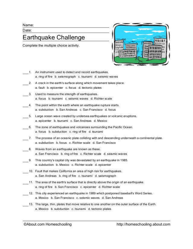 Worksheets Earthquake Worksheet earthquake challenge 4th 6th grade worksheet lesson planet