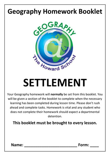 KS3 Settlement Homework Booklet