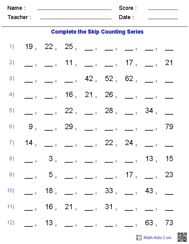 Math Worksheets · Skip Counting Worksheets