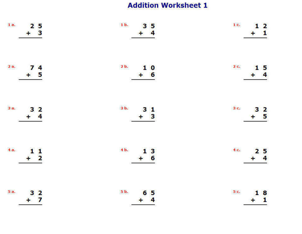Small • Medium • Worksheet Easy Math